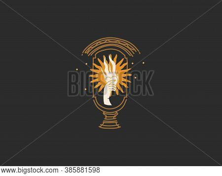 Hand Drawn Vector Abstract Stock Flat Graphic Illustration With Logo Elements , Gold Sun And Female