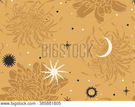 Hand Drawn Vector Abstract Flat Stock Graphic Icon Illustration Sketch Seamless Pattern With Chrysan