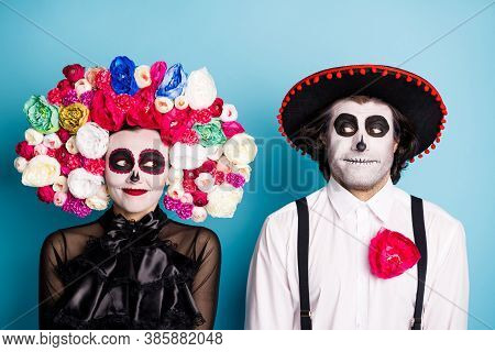 Photo Of Creepy Monster Couple Man Lady Playful Look Zombie First Meet After Resurrection Wear Black