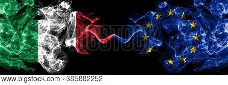 Italy Vs European Union, Eu Smoky Mystic Flags Placed Side By Side. Thick Colored Silky Abstract Smo