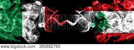 Italy Vs Lebanon, Lebanese Smoky Mystic Flags Placed Side By Side. Thick Colored Silky Abstract Smok
