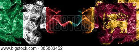 Italy Vs Sri Lanka, Sri Lankan Smoky Mystic Flags Placed Side By Side. Thick Colored Silky Abstract