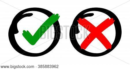 Check Mark Sign Yes Or No With Stripes Brush Hand Drawn, Checkmark Cross Or Right Tick Choice For Vo