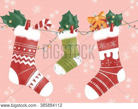 Hand-draw Illustration Of Three Winter Socks Hanging On Christmas Decoration