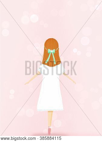 Hand-draw Illustration Of A Ballet Dancer Girl With Pointe Shoes Over Light Pink Background