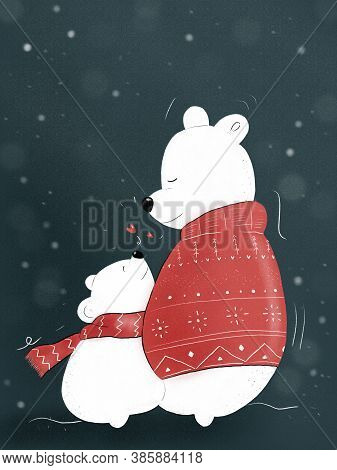 Hand-draw Illustration Of Two Polar Bears Hugging Each Other With Christmas And Winter Clothes