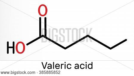 Valeric Acid, Pentanoic Acid Or Valerate Molecule. Skeletal Chemical Formula. Illustration