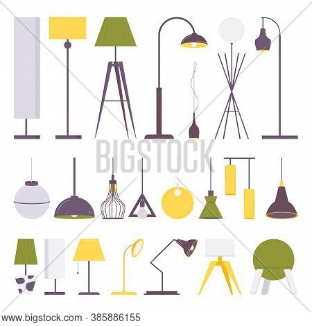 Flat Collection Of Various Light Fixtures For Lighting And Interior Design. Torch, Table, Standart C