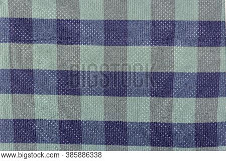 Blue And Green Cells, The Texture Of Checkered Fabric As A Background. Fabric Shirt In A Cage. Repet