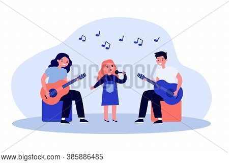 Kids Music Band. Girl Singing With Mic, Teenagers Playing Guitars Flat Vector Illustration. Talent S