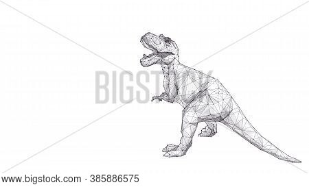 Abstract Huge Roaring Tyrannosaurus Rex Isolated In White Background. Polygonal Sketch 3d Dino Consi