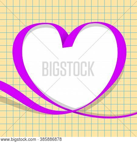 Ribbon Purple With Heart Shape On Grid Background, Copy Space, Ribbon Line Heart-shaped, Heart Shape