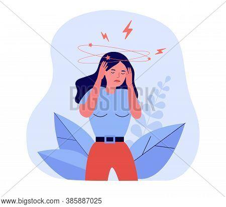 Woman Feeling Vertigo Or Dizzy. Sick Or Drunk Confused Lady Suffering From Head Ache. Vector Illustr