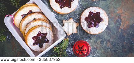Christmas Or New Year Homemade Sweet Present In White Box. Traditional Austrian Christmas Cookies -