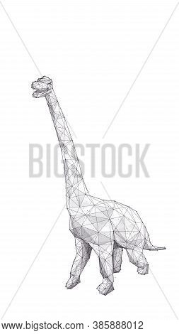 Abstract Huge 3d Brachiosaurus With Long Neck Isolated In White Background. Low Poly Sketch Of Brach