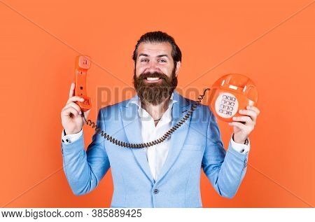 Best In Class. Young Man Talking On Telephone. Businessman Talking On Vintage Phone. Male Talking On