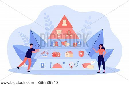 Hierarchy Pyramid Concept. Graphic Triangle With Basic Person Needs, Safety, Love, Social Esteem Lev