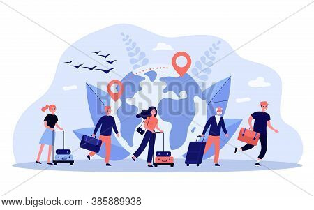 World Travel Concept. Queue Of Tourists And Immigrants Wheeling Luggage, Map With Destination Line A