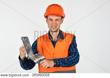 Man Plasterer With Tools Wear Protective Hard Hat, Temporary Permission To Work Concept