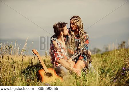Romantic Hike. Enjoying Each Other. Summer Hike. Breathtaking Feelings. Hiking Romance. Couple Happy