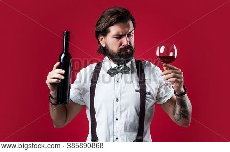 You Should Try This. Brutal Guy Bartender In Bow Tie. Elegant Male Barman. Handsome Hipster Drinking
