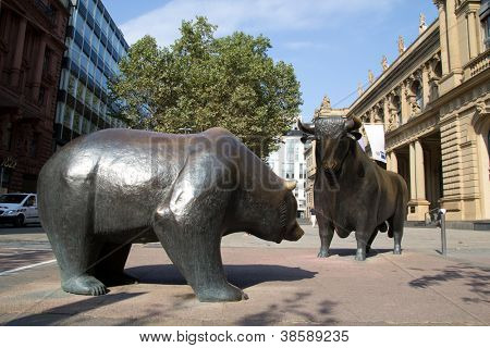 FRANKFURT, GERMANY - AUG 22: The Bull & Bear Statues at the Frankfurt Stock Exchange on August 22, 2012 in Frankfurt, Germany. Frankfurt Exchange is the 12th largest exchange by market capitalization.