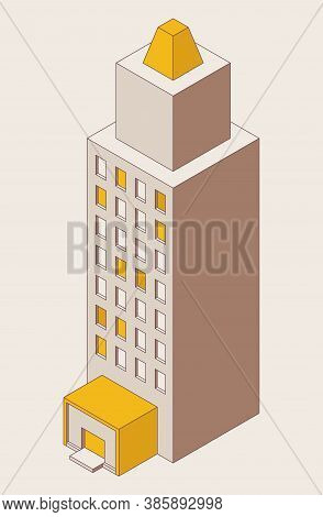 Single High-rise Building Isometric Drawn With Outline Mode. Business Center Good For Office And Liv