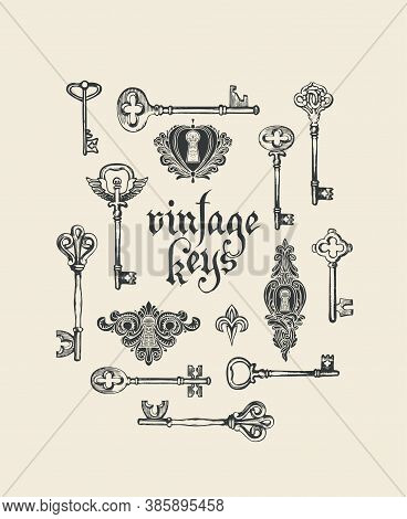 Banner With Black Hand-drawn Keys, Keyholes And The Inscription In Retro Style. Gothic Font. Vintage