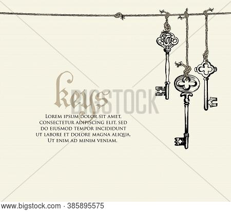 Banner With A Vintage Keys And Place For Text On A Light Background. Vector Illustration In Retro St