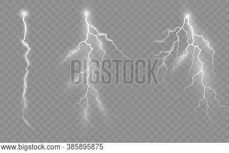 The Effect Of Lightning And Lighting, Set Of Zippers, Thunderstorm And Lightning. Vector Illustarion