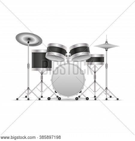 Drum Set Musical Instrument Isolated On White, 3d Clipart Vector Illustration, Drums With Cymbals On