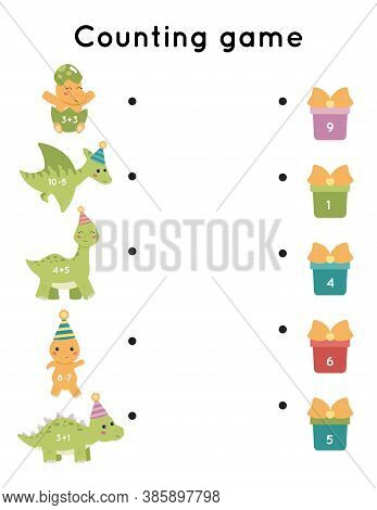 Educational Counting Game For Children. Subtraction And Addition Worksheet. Cute Cartoon Dinosaurs.
