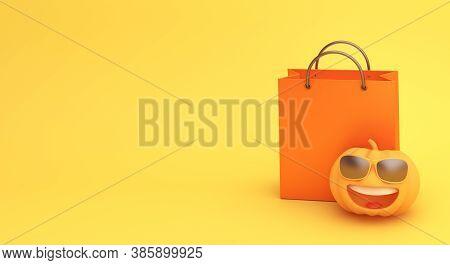 Happy Halloween Sale Background With  Shopping Bag, Cute Pumpkin On Orange Background. Halloween Par
