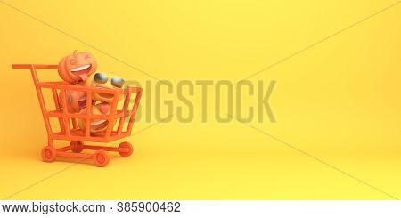 Happy Halloween Sale Background Decoration With Shopping Trolley Cart And Pumpkin Cartoon On Orange