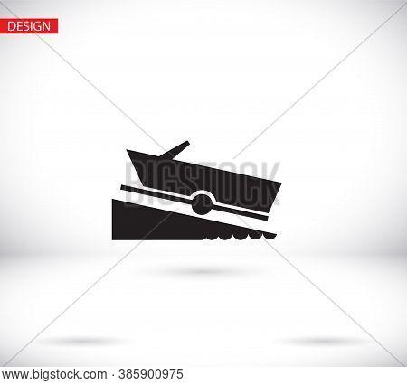Motorboat Vector Icon On White Background. Vector Icon Flat Vector Motorboat Icon Symbol Sign From V