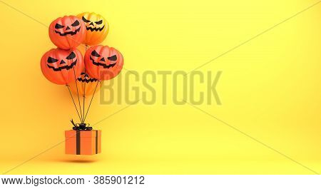Happy Halloween Decoration Background With Pumpkin Balloon, Gift Box On Orange Background, Halloween