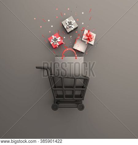 Black Friday Sale Event Design Creative Concept, Trolley Cart, Shopping Bag, Gift Box, Confetti On B