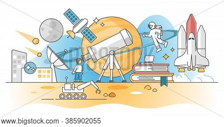 Astronomy Knowledge Study About Space And Cosmos Research Outline Concept. Universe Exploration With