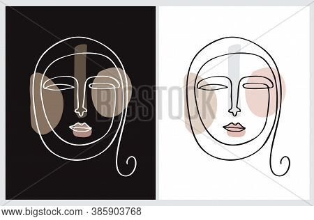 Simple Vector Illustration With Arab Woman Face Isolated On A Black And White Background. Minimalist