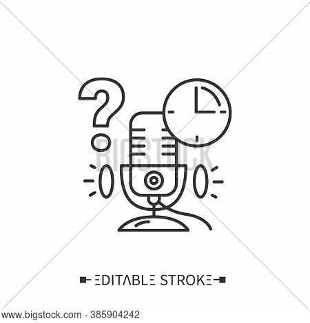 Podcast Timing Line Icon. Episodes Length. Holding The Tempo Of Broadcasting. Internet Digital Recor