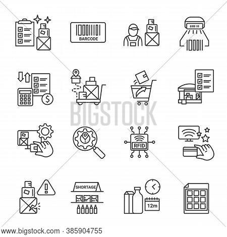 Inventory Tracking Management Line Icons Set. Storage Control. Transportation, Storage And Logistics