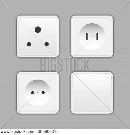 Switches And Sockets Set. All Types. Wall Switch. Electrical Plug Electric, Power Electricity Socket