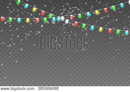Christmas Lights, Snowy Background With Light Garlands, Falling Snow, Snowflakes, Snowdrift. Xmas Ga