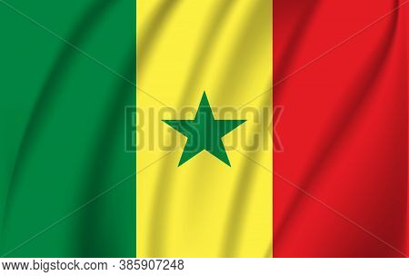 Flag Of Senegal. Realistic Waving Flag Of Senegal. Fabric Textured Flowing Flag Of Senegal.