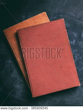 Vintage Books On Black Background, Copy Space