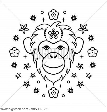 Monkey Chinese Zodiac Sign In Line Art Style On White Background..