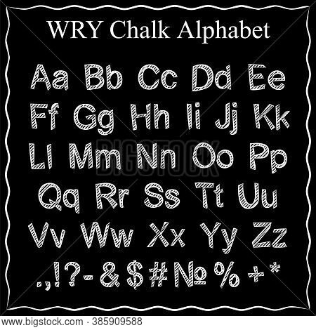 Chalk Alphabet. Alphabet In White Chalk On A Black Board. Wry Letters. Wry Chalk Letters. Lettering.