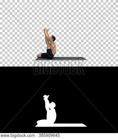 Male Yoga Teacher In Heron Pose Intense Hamstring Stretch Flexib