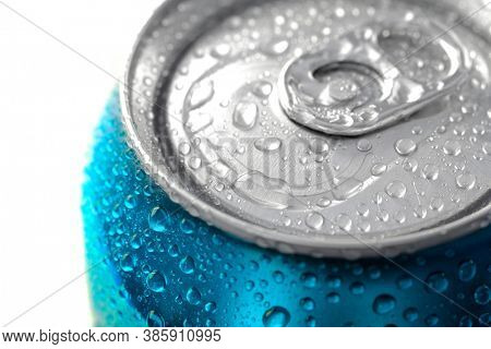 Fresh can of soda pop soft drink with water drops chilled and refreshing