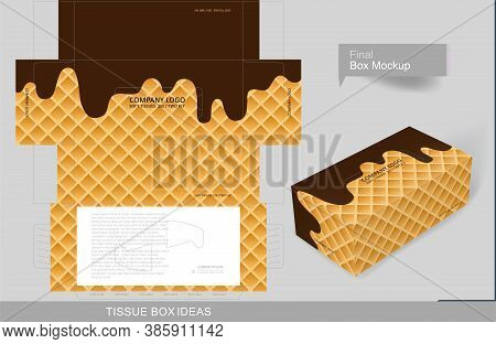 Flowing Molten Ice-cream Pattern Tissue Box Concept, Template For Creative Business Purpose, Place Y